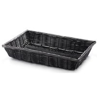 Tablecraft 2489 Black Rectangular Woven Basket 16 inch x 11 1/2 inch x 3 inch