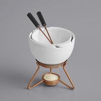 Boska 320402 8.5 oz. Choco Fondue Marie Ceramic Chocolate Fondue Pot Set with 2 Forks