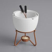 Boska 320400 18.5 oz. Choco Fondue Marie Ceramic Chocolate Fondue Pot Set with 2 Forks