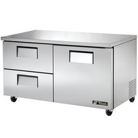True TUC-60D-2 60 inch Undercounter Refrigerator with One Door and Two Drawers