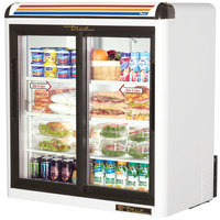 True GDM-9-LD White Countertop Two Section Display Refrigerator with Sliding Doors