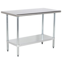 Advance Tabco GLG-244 24 inch x 48 inch 14 Gauge Stainless Steel Work Table with Galvanized Undershelf