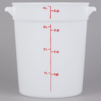 Cambro RFS4148 4 Qt. Round White Food Storage Container