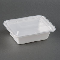 12 oz. White 5 inch x 4 inch x 1 1/2 inch Rectangular Microwavable Container with Lid - 150/Case