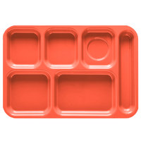 GET TR-152 10 inch x 14 1/2 inch Rio Orange ABS Plastic Right Hand 6 Compartment Tray - 12/Pack