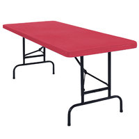 National Public Seating BTA-3072-40 30 inch x 72 inch Red Plastic Adjustable Folding Table