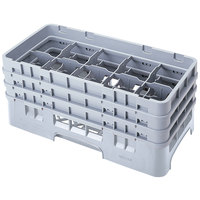 Cambro 10HS638151 Soft Gray Camrack 10 Compartment 6 7/8 inch Half Size Glass Rack