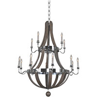 Kalco 300485CH Sharlow 15-Light Farmhouse Tiered Chandelier with Chrome Finish - 120V, 60W