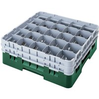Cambro 25S900119 Camrack 9 3/8 inch High Customizable Sherwood Green 25 Compartment Glass Rack