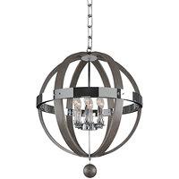 Kalco 300483CH Sharlow 6-Light Farmhouse Globe Pendant Light with Chrome Finish - 120V, 60W