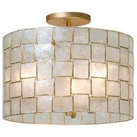 Kalco 505840OL Roxy 17 inch Capiz Shell Ceiling Light with Oxidized Gold Leaf Finish - 120V, 60W
