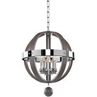 Kalco 300480CH Sharlow 5-Light Farmhouse Globe Pendant Light with Chrome Finish - 120V, 60W