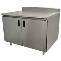 Advance Tabco HK-SS-243 24 inch x 36 inch 14 Gauge Enclosed Base Stainless Steel Work Table with Hinged Doors and 5 inch Backsplash