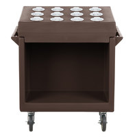 Cambro TDCR12131 Dark Brown Tray and Dish Cart with Cutlery Rack and Protective Vinyl Cover