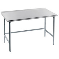 Advance Tabco TFAG-366 36 inch x 72 inch 16 Gauge Super Saver Commercial Work Table with 1 1/2 inch Backsplash