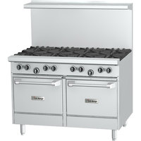 U.S. Range U48-8LL Natural Gas 8 Burner 48 inch Range with 2 Space Saver Ovens - 320,000 BTU