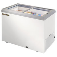 True TFM-41FL White Flat Glass Lid Horizontal Freezer - 10 cu. ft.