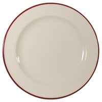 Homer Laughlin Lydia Maroon 9 3/4 inch Off White China Plate - 24/Case
