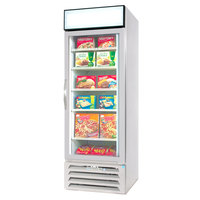 Beverage Air MMF23-1-W-LED White Marketmax Glass Door Merchandising Freezer with LED Lighting and Swing Door - 23 Cu. Ft.