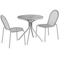 Lancaster Table & Seating Harbor Gray 30 inch Round Dining Height Powder-Coated Steel Mesh Table with Modern Legs and 2 Side Chairs
