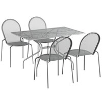 Lancaster Table & Seating Harbor Gray 30 inch x 48 inch Rectangular Dining Height Powder-Coated Steel Mesh Table with Modern Legs and 4 Side Chairs