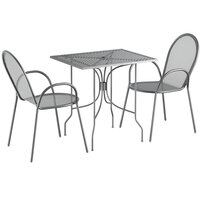 Lancaster Table & Seating Harbor Gray 24 inch x 30 inch Rectangular Dining Height Powder-Coated Steel Mesh Table with Ornate Legs and 2 Armchairs