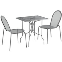 Lancaster Table & Seating Harbor Gray 24 inch x 30 inch Rectangular Dining Height Powder-Coated Steel Mesh Table with Ornate Legs and 2 Side Chairs
