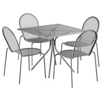 Lancaster Table & Seating Harbor Gray 36 inch Square Dining Height Powder-Coated Steel Mesh Table with Modern Legs and 4 Side Chairs