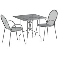 Lancaster Table & Seating Harbor Gray 30 inch Square Dining Height Powder-Coated Steel Mesh Table with Ornate Legs and 2 Armchairs