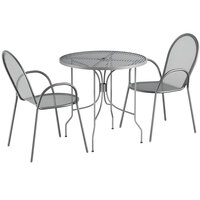 Lancaster Table & Seating Harbor Gray 30 inch Round Dining Height Powder-Coated Steel Mesh Table with Ornate Legs and 2 Armchairs