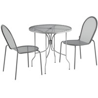 Lancaster Table & Seating Harbor Gray 30 inch Round Dining Height Powder-Coated Steel Mesh Table with Ornate Legs and 2 Side Chairs