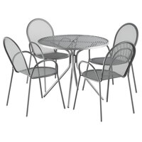 Lancaster Table & Seating Harbor Gray 36 inch Round Dining Height Powder-Coated Steel Mesh Table with Modern Legs and 4 Armchairs