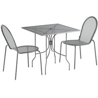 Lancaster Table & Seating Harbor Gray 30 inch Square Dining Height Powder-Coated Steel Mesh Table with Ornate Legs and 2 Side Chairs