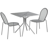 Lancaster Table & Seating Harbor Gray 30 inch Square Dining Height Powder-Coated Steel Mesh Table with Modern Legs and 2 Side Chairs