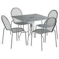 Lancaster Table & Seating Harbor Gray 36 inch Square Dining Height Powder-Coated Steel Mesh Table with Ornate Legs and 4 Side Chairs