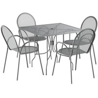Lancaster Table & Seating Harbor Gray 36 inch Square Dining Height Powder-Coated Steel Mesh Table with Ornate Legs and 4 Armchairs
