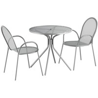 Lancaster Table & Seating Harbor Gray 30 inch Round Dining Height Powder-Coated Steel Mesh Table with Modern Legs and 2 Armchairs