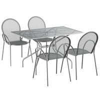 Lancaster Table & Seating Harbor Gray 30 inch x 48 inch Rectangular Dining Height Powder-Coated Steel Mesh Table with Modern Legs and 4 Armchairs