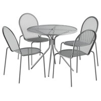Lancaster Table & Seating Harbor Gray 36 inch Round Dining Height Powder-Coated Steel Mesh Table with Modern Legs and 4 Side Chairs