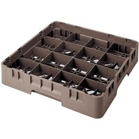 Cambro 16S800167 Camrack 8 1/2 inch High Customizable Brown 16 Compartment Glass Rack