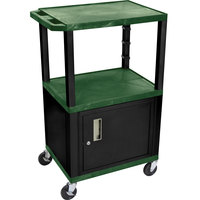 Luxor / H. Wilson WT2642HGC2E Hunter Green Tuffy Two Shelf Adjustable Height A/V Cart with Locking Cabinet - 18 inch x 24 inch