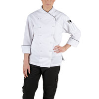 Chef Revival LJ008-L Chef-Tex Size 12 (L) Customizable Poly-Cotton Ladies Corporate Jacket with Black Piping