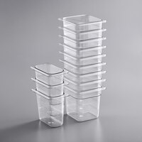 Vigor 12-Piece 1/6 & 1/9 Size Clear Food Pan for 27 inch Mega Top Refrigerated Sandwich Prep Tables - 6 inch Deep