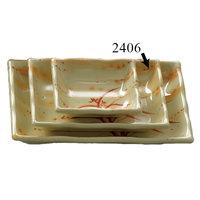 Thunder Group 2406 Gold Orchid 8 oz. Rectangular Melamine Wave Plate - 12/Pack