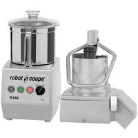 Robot Coupe R652 2-Speed Combination Food Processor with 7 Qt. Stainless Steel Bowl, Full Moon Pusher Continuous Feed & 2 Discs - 240V, 3 Phase, 3 hp