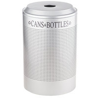Rubbermaid FGDRR24CSS Silhouettes Stainless Steel Round Designer Recycling Receptacle - Cans and Bottles 26 Gallon