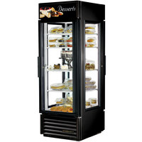 True G4SM-23PT-LD Black Pass-Through Four Sided Glass Door Refrigerator Merchandiser with Front Sign