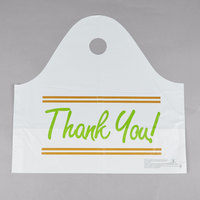 19 inch x 9 1/2 inch x 18 inch White Plastic Take Out Bag with Printed Thank You Design   - 500/Box