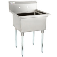 Regency 28 inch 16-Gauge Stainless Steel One Compartment Commercial Sink with Galvanized Steel Legs and without Drainboard - 23 inch x 23 inch x 12 inch Bowl