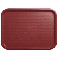 Carlisle CT121661 Customizable Cafe 12 inch x 16 inch Burgundy Standard Plastic Fast Food Tray - 24/Case